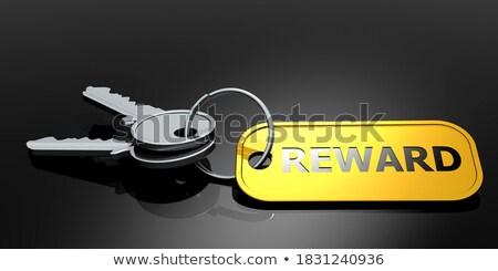 Sleutels woord belonen gouden label zwarte Stockfoto © tashatuvango