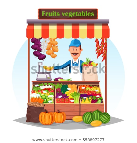 Vector of street vegetable seller. stock photo © Morphart