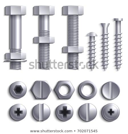 Wektora metal śruby ilustracja ikona żelaza Zdjęcia stock © TRIKONA