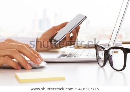 nő · szemüveg · kéz · arc · igazgató · fekete - stock fotó © Paha_L