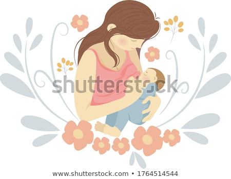 Stock photo: Vector of mother breastfeeding little baby.