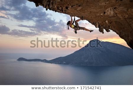 femme · séance · pierres · belle · brunette - photo stock © compuinfoto