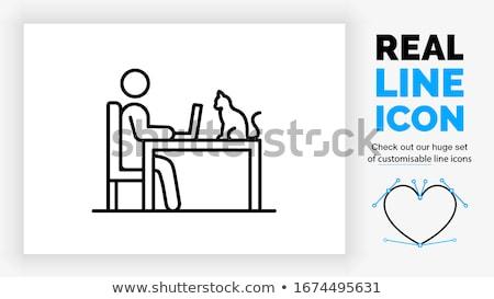 férfi · dolgozik · számítógép · vonal · ikon · háló - stock fotó © RAStudio