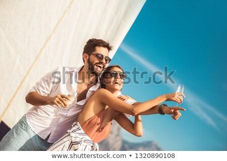 Stockfoto: Zeilen · boot · zomer · zonsondergang · gelukkig