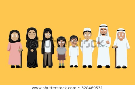 Arabic family, four members isolated Stock photo © zurijeta