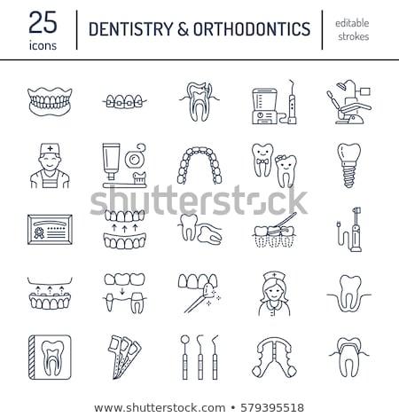 Orthodontische bretels lijn icon hoeken web Stockfoto © RAStudio