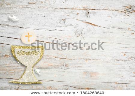 pierwsza · komunia · potwierdzenie · chrzest · karty · kwiaty · niebieski - zdjęcia stock © marimorena