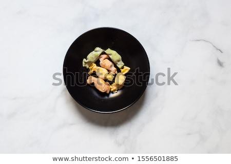 Töltött tészta fehér étel sajt gyógynövény Stock fotó © Digifoodstock