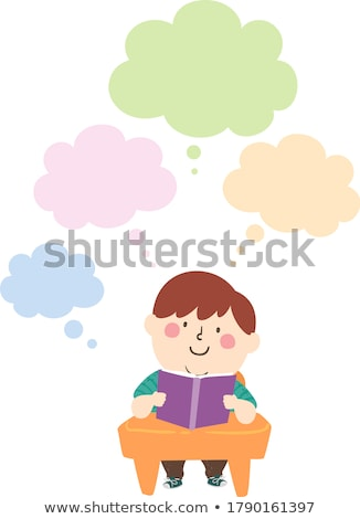 A boy reading with an empty callout Stock photo © bluering