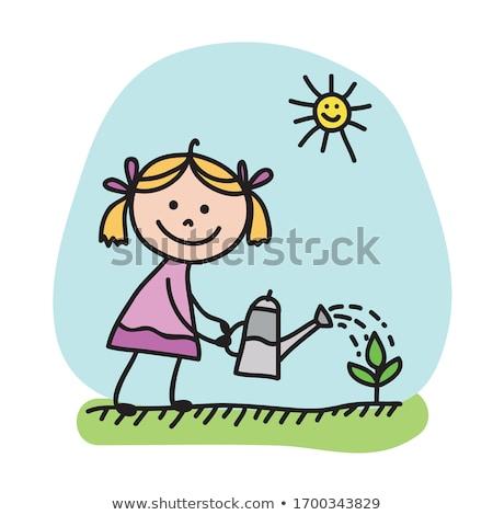 Bebê feminino regador ilustração água menina Foto stock © adrenalina