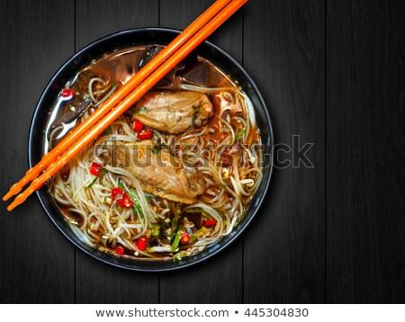 kínai · étel · tál · zöld · tyúk · vacsora - stock fotó © peteer