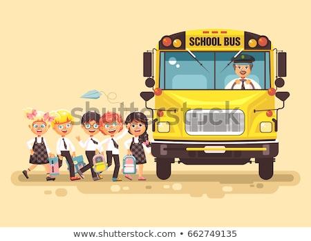 schoolbus · bestuurder · permanente · Geel · bus · vector - stockfoto © rastudio