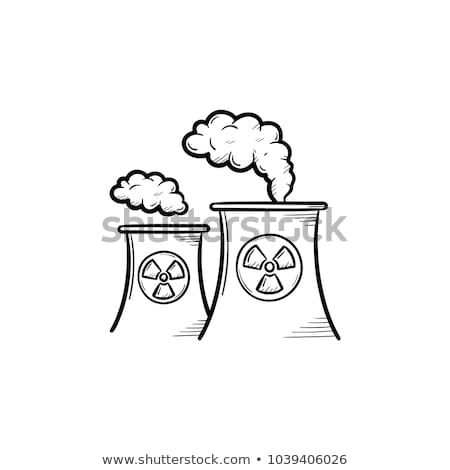 nukleáris · erőmű · izolált · ikon · fehér · rajz - stock fotó © rastudio