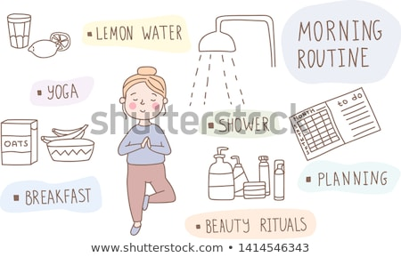 girl doing her morning routine vector illustration stock photo © maia3000