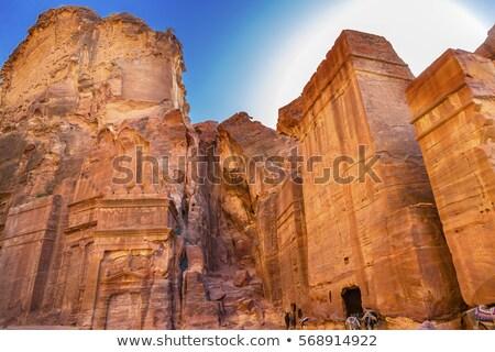 yellow rock tombs morning street of facades petra jordan stock photo © billperry