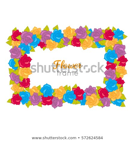 Rectangular Wreath of Different Blossoms. Vector Stock photo © robuart