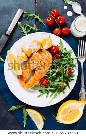 ızgara somon patates dilim limon ahşap Stok fotoğraf © Yatsenko