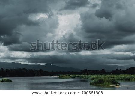 Bergen bewolkt weer landschap laag gras Stockfoto © All32