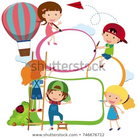 Keret sablon gyerekek játszanak léggömbök illusztráció papír Stock fotó © bluering