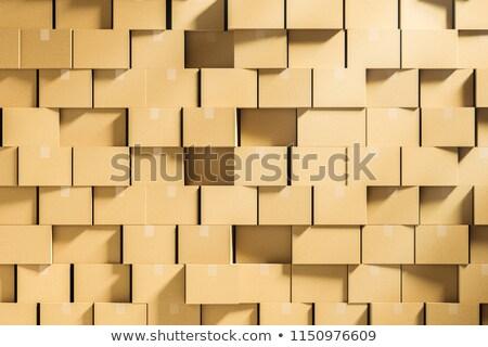 Halom zárva karton dobozok bézs fehér Stock fotó © make