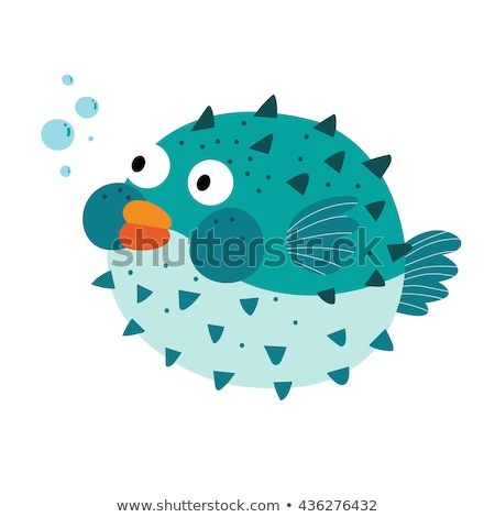 Cute pufferfish on white background stock photo © bluering