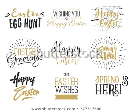 Easter wishes sign - Happy Easter. Easter wish overlay, lettering label design. Holiday badge. Hand  Stock photo © JeksonGraphics