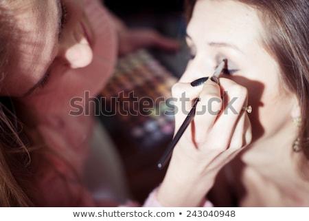 dame · make-up · gezicht · steeg · glas · kamer - stockfoto © rastudio
