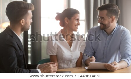 Couple sur bureau coup homme Photo stock © LightFieldStudios