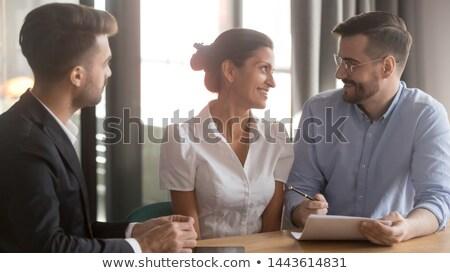 férfi · nő · flörtöl · iroda · szeretet · megbeszélés - stock fotó © lightfieldstudios