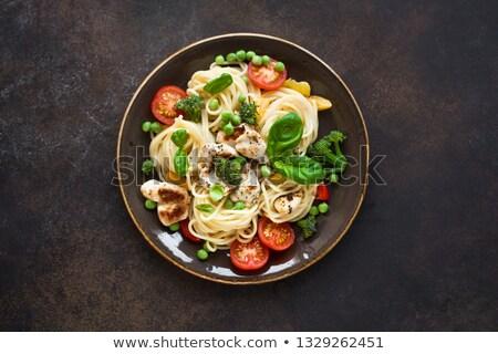 pasta · salsa · di · pomodoro · verdura · aglio · toast · pane - foto d'archivio © smitea