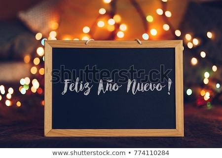 Saudação feliz ano novo espanhol linguagem texto mão Foto stock © brozova