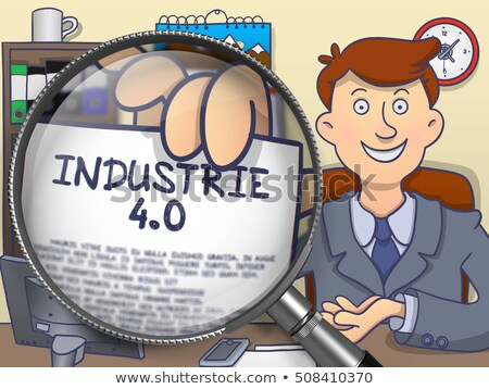 Industrie 4.0 through Magnifier. Doodle Style. Stock photo © tashatuvango