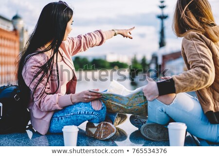 friends with coffee to go and map Stock photo © LightFieldStudios
