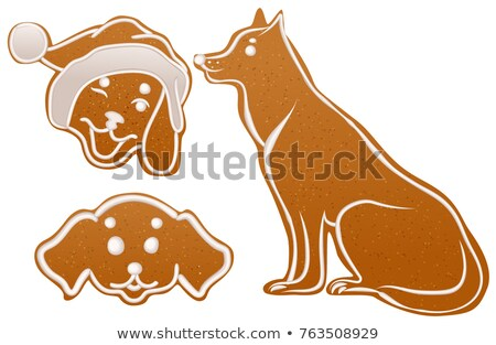 Set dog gingerbread cookie. Christmas ginger snap traditional dessert Stock photo © orensila