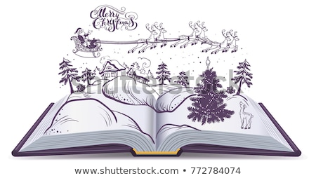 open book tale about christmas santa and deer in sky above winter forest stock photo © orensila