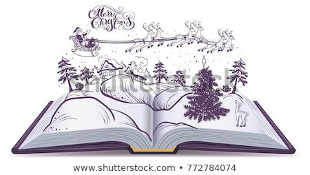 Açık kitap masal Noel geyik gökyüzü Stok fotoğraf © orensila
