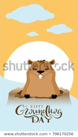 Happy Groundhog Day text greeting card. Marmot got out of hole Stock photo © orensila