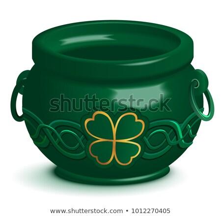 Verde vazio pote folha trevo ornamento Foto stock © orensila