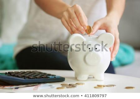 Vrouwelijke hand spaarvarken pensioen spaargeld tekst Stockfoto © DenisMArt