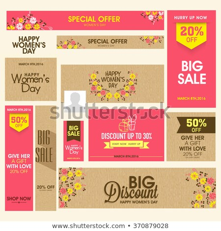Women's day social media posts, vector set Stock photo © beaubelle