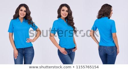 Sonriendo casual mujer polo lado Foto stock © feedough