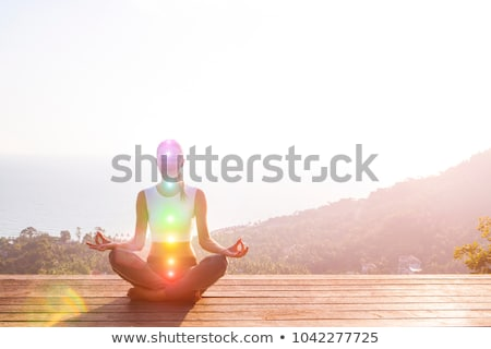 woman sitting in pose of lotus with glowing chakras Stock photo © Sonya_illustrations