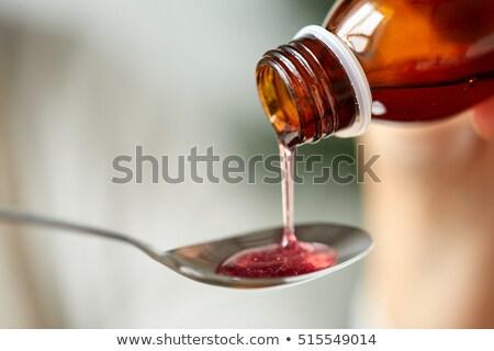 Ilaç şurup kaşık sağlık tedavi tıp Stok fotoğraf © dolgachov