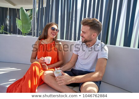 Сток-фото: Young Copule Having Coffee In Lounge Bar