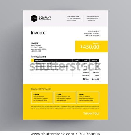 stylish yellow vector invoice template Stock photo © SArts