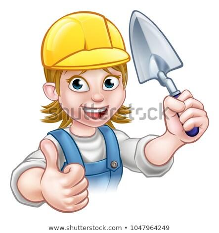 женщины строителя каменщик работник инструментом Cartoon Сток-фото © Krisdog