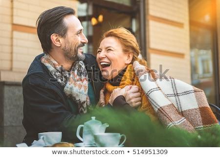Mutlu çift rahatlatıcı battaniye bağ gıda Stok fotoğraf © wavebreak_media
