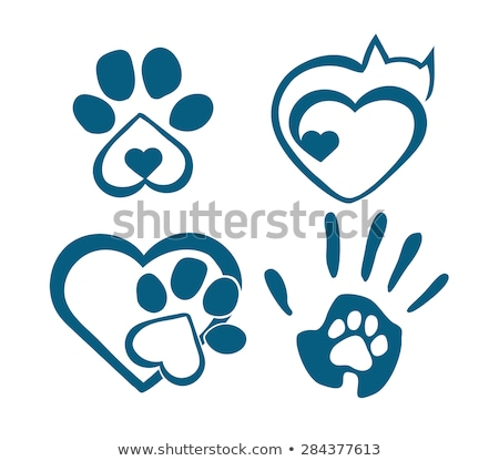 I Love Dog With Black Heart Paw Print With Claws Logo Design Stock photo © hittoon