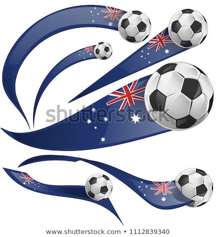 australian flag set whit soccer ball stock photo © doomko