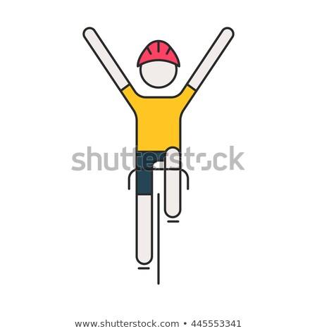 Fietser lineair stijl fiets race sport Stockfoto © popaukropa